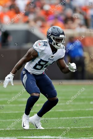 Tennessee Titans wide receiver Corey Davis keeps watch during the first half in an NFL football game against the Cleveland Browns, in Cleveland