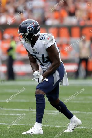 Stock Image of Tennessee Titans wide receiver Corey Davis (84) plays against the Cleveland Browns during the second half in an NFL football game, in Cleveland