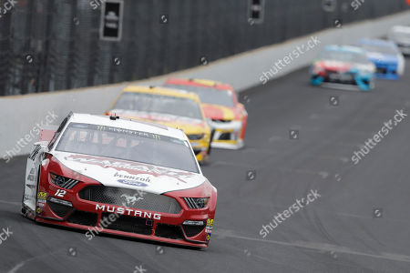 NASCAR Cup Series driver Ryan Blaney drives into turn one during the NASCAR Brickyard 400 auto race at the Indianapolis Motor Speedway, in Indianapolis