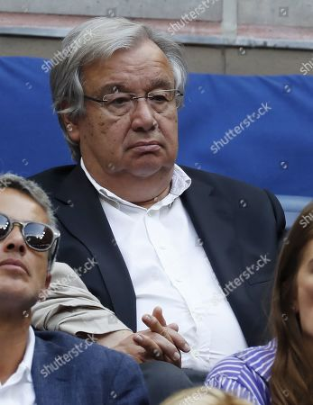 United Nations Secretary General Antonio Guterres watches as Rafael Nadal of Spain plays Daniil Medvedev of Russia during the men's final match on the fourteenth day of the US Open Tennis Championships the USTA National Tennis Center in Flushing Meadows, New York, USA, 08 September 2019. The US Open runs from 26 August through 08 September.