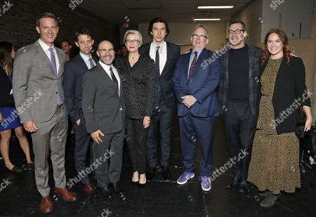 Stock Photo of Amazon Studios Co-Head of Movies Matt Newman, Daniel Jones, writer and director Scott Z Burns, Annette Bening, Adam Driver, Amazon Studios Head of Motion Picture Production Ted Hope, Jon Hamm and producer Jennifer Fox and Amazon Studios Co-Head of Movies Julie Rapaport pose backstage.