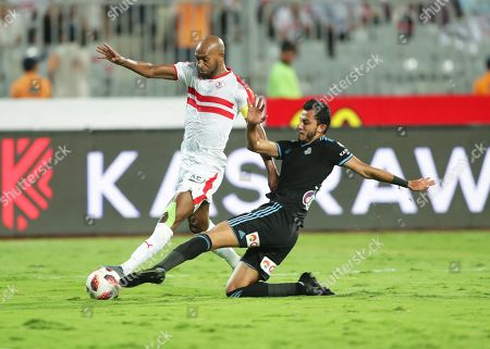 Pyramids' Ahmed Ayman Mansour (R) in action against Zamalek's Shikabala (L) during the Egyptian Cup final soccer match between Zamalek SC and Pyramids FC at Borg Al-Arab Stadium in Alexandria, Egypt, 08 September 2019.