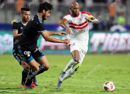 Pyramids' Ali Gaber (2-L) in action against Zamalek's Shikabala (R) during the Egyptian Cup final soccer match between Zamalek SC and Pyramids FC at Borg Al-Arab Stadium in Alexandria, Egypt, 08 September 2019.