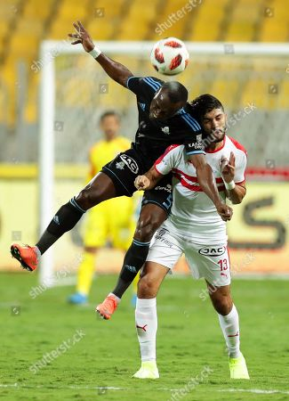 Pyramids' John Cifuente (L) in action against Zamalek's Ferjani Sassi (R) during the Egyptian Cup final soccer match between Zamalek SC and Pyramids FC at Borg Al-Arab Stadium in Alexandria, Egypt, 08 September 2019.