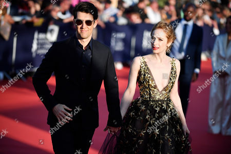Guy Nattiv (L) and his wife, US actress Jaime Ray Newman arrive on the red carpet prior to the premiere of 'Waiting for the Barbarians' during the 45th Deauville American Film Festival, in Deauville, France, 08 September 2019. The festival runs from 06 to 15 September.