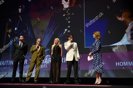 Andrea Iervolino, British actor Mark Rylance, Italian producer Monika Bacardi and US actor Johnny Depp attend a tribute ceremony in Depp's honor at the 45th Deauville American Film Festival, in Deauville, France, 08 September 2019. The festival runs from 06 to 15 September.