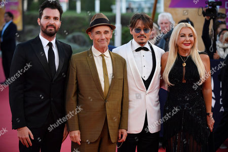 Andrea Iervolino, British actor Mark Rylance, US actor Johnny Depp and Italian producer Monika Bacardi arrive on the red carpet prior to the premiere of 'Waiting for the Barbarians' during the 45th Deauville American Film Festival, in Deauville, France, 08 September 2019. The festival runs from 06 to 15 September.