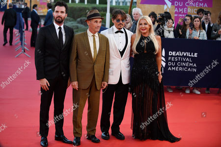 Stock Photo of Andrea Iervolino, British actor Mark Rylance, US actor Johnny Depp and Italian producer Monika Bacardi arrive on the red carpet prior to the premiere of 'Waiting for the Barbarians' during the 45th Deauville American Film Festival, in Deauville, France, 08 September 2019. The festival runs from 06 to 15 September.