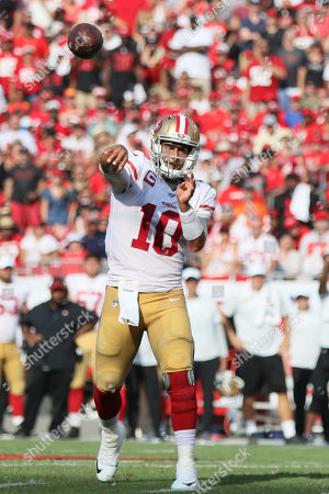 San Francisco 49ers quarterback Jimmy Garoppolo (10) throws a pass during the NFL game between the San Francisco 49ers and the Tampa Bay Buccaneers held at Raymond James Stadium in Tampa, Florida. Andrew J