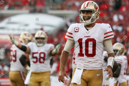 Stock Picture of San Francisco 49ers quarterback Jimmy Garoppolo (10) during the NFL game between the San Francisco 49ers and the Tampa Bay Buccaneers held at Raymond James Stadium in Tampa, Florida. Andrew J