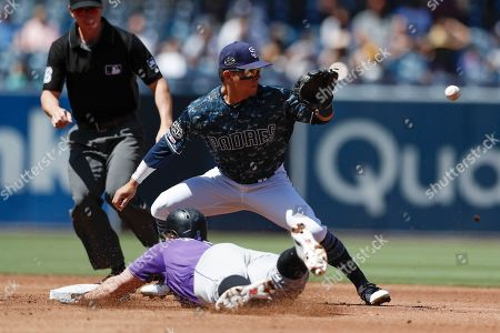 San Diego Padres second baseman Luis Urias waits for the throw before tagging out Colorado Rockies' Daniel Murphy at second during the second inning of a baseball game, in San Diego