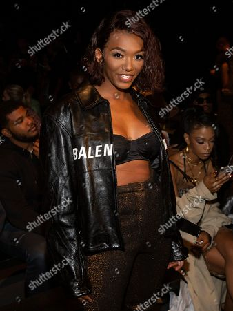 Stock Image of Elisa Johnson attends the LaQuan Smith runway show during NYFW Spring/Summer 2020, in New York