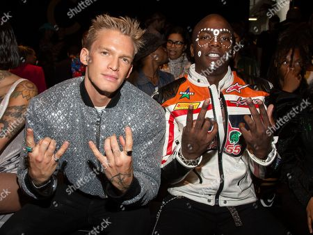 Cody Simpson, Young Paris. Recording artists Cody Simpson, left, and Young Paris, right, attend the LaQuan Smith runway show during NYFW Spring/Summer 2020, in New York