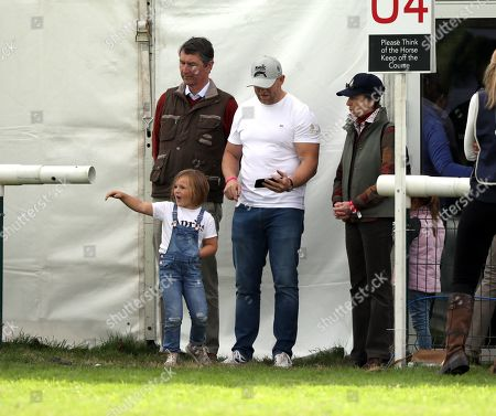 Mike and Mia Tindall, with Princess Anne (Princess Royal), and Sir Tim Laurence, watching Zara Tindall, who is competing on Class Affair, on cross country day