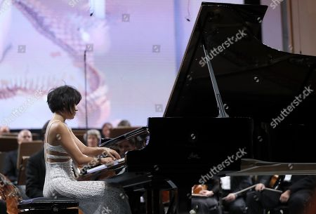 Chinese classical pianist Yuja Wang, accompanied by The Staatskapelle Dresden orchestra, performs Rachmaninoff's Piano Concerto no. 3 in D minor op. 30 the stage of Grand Concert Hall during the George Enescu International Festival 2019, in Bucharest, Romania, 08 September 2019. The festival, held since 1958 every two years, is the biggest classical music festival held in Romania, in honor of Romanian composer and violinist George Enescu. The 24th edition of the George Enescu International Festival takes place between 31 August and 22 September 2019.