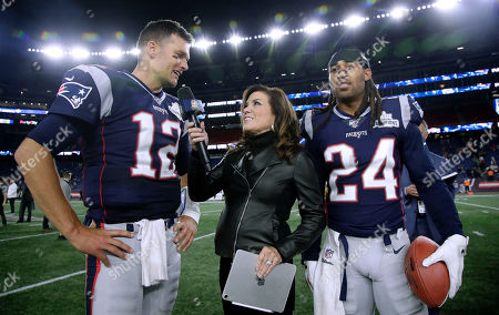 Broadcaster Michele Tafoya, center, interviews New England Patriots quarterback Tom Brady as cornerback Stephon Gilmore stands at right, after an NFL football game between the Patriots and the Pittsburgh Steelers, in Foxborough, Mass