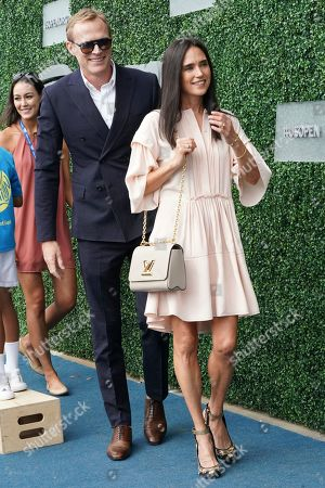Jennifer Connelly, Paul Bettany. Jennifer Connelly and Paul Bettany attend the men's finals of the U.S. Open tennis championships, in New York