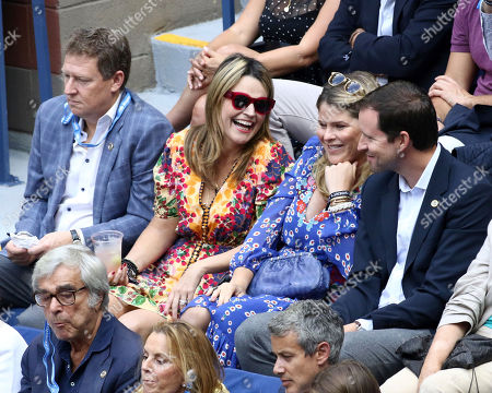 Savannah Guthrie, Jenna Bush. Savannah Guthrie, second from left, and Jenna Bush attend the men's finals of the U.S. Open tennis championships, in New York