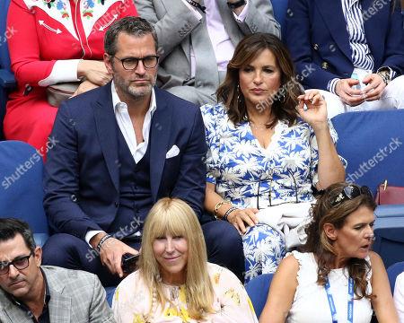 Peter Hermann, Mariska Hargitay. Peter Hermann and Mariska Hargitay attend the men's finals of the U.S. Open tennis championships, in New York