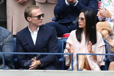 Paul Bettany, Jennifer Connelly. Paul Bettany, left, and Jennifer Connelly attend the men's finals of the U.S. Open tennis championships, in New York