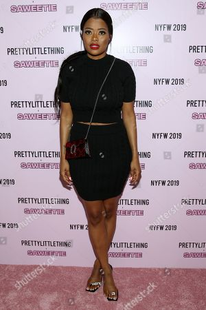 Editorial photo of PrettyLittleThing x Saweetie show, Arrivals, Spring Summer 2020, New York Fashion Week, USA - 08 Sep 2019