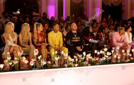 Nicky Hilton Rothschild, Paris Hilton, Terrence J, Fat Joe, Remy Ma, Offset and Umar Kamani in the front row