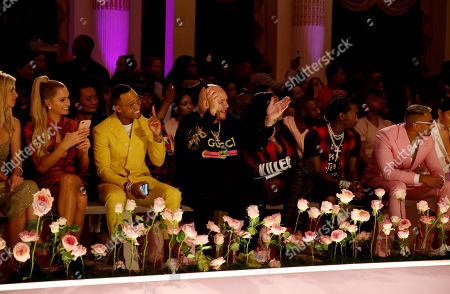 Paris Hilton, Terrence J, Fat Joe, Remy Ma, Offset and Umar Kamani in the front row