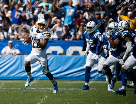 Los Angeles Chargers running back Justin Jackson (22) carries the ball during the NFL game between the Los Angeles Chargers and the Indianapolis Colts at Dignity Health Sports Park in Carson, California