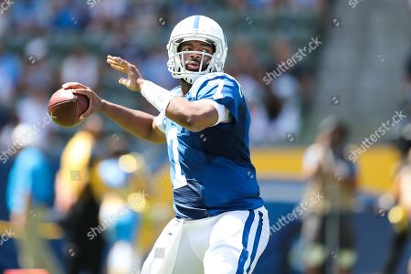 Indianapolis Colts quarterback Jacoby Brissett  makes a pass attempt in the first half in his first start after the unexpected retirement of Andrew Luck just days before, during the NFL American Football game between the Indianapolis Colts and the Los Angeles Chargers at the Dignity Health Sports Park in Carson, California, USA, 08 September 2019.