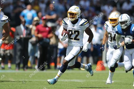 Los Angeles Chargers running back Justin Jackson (C) breaks free for a long first down run in the second half during the NFL American Football game between the Indianapolis Colts and the Los Angeles Chargers at the Dignity Health Sports Park in Carson, California, USA, 08 September 2019.