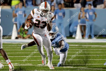 Cam'Ron Harris, D.J. Ford. Miami's Cam'Ron Harris (23) evades North Carolina's D.J. Ford (16) during the third quarter of an NCAA college football game in Chapel Hill, N.C., on
