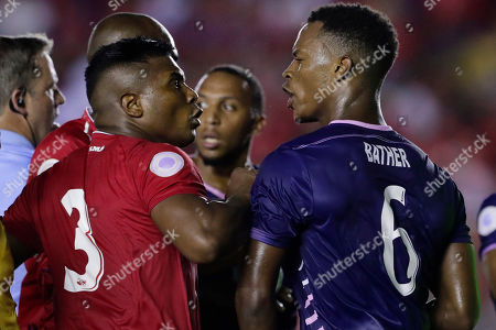 Panama's Harold Cummings, left, and Bermuda's Jaylon Bather argue during a Concacaf Nation League soccer match at Rommel Fernandez stadium in Panama City