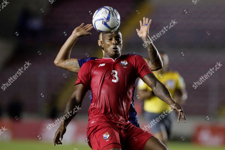 Panama's Harold Cummings, front, is pressured by Bermuda's Nahki Wells during a Concacaf Nation League soccer match at Rommel Fernandez stadium in Panama City