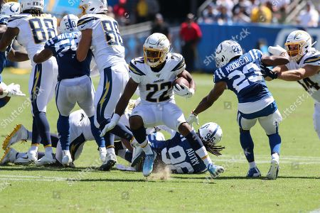 Carson, CA...Los Angeles Chargers running back Justin Jackson #22 looks to cut back during the NFL Indianapolis Colts vs Los Angeles Chargers at the Dignity Health Sports Park in Carson, Ca on , (Photo by Jevone Moore)