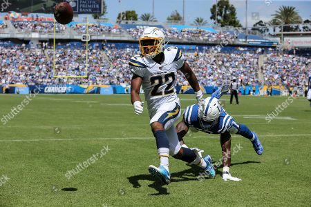 Carson, CA...Los Angeles Chargers running back Justin Jackson #22 just misses a pass during the NFL Indianapolis Colts vs Los Angeles Chargers at the Dignity Health Sports Park in Carson, Ca on , (Photo by Jevone Moore)