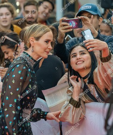 Sarah Paulson poses for a photograph with a fan as she arrives for the screening of the movie 'The Goldfinch' during the 44th annual Toronto International Film Festival (TIFF) in Toronto, Canada, 08 September 2019. The festival runs 05 to 15 September.