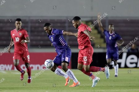 Justin Donawa (2-L) of Bermuda in action against Erick Davis (2-R) of Panama during a CONCACAF Nations League soccer match between Panama and Bermuda at the Rommel Fernandez National Stadium in Panama City, Panama, 08 September 2019.