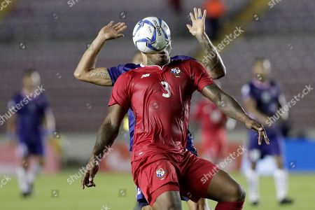 Stock Photo of Calon Minors (back) of Bermuda in action against Harold Cummings (front) of Panama, during a CONCACAF Nations League soccer match between Panama and Bermuda at the Rommel Fernandez National Stadium in Panama City, Panama, 08 September 2019.