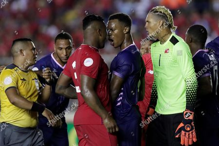 Stock Picture of Jaylon Bather (C-R) of Bermuda confronts Harold Cummings (C-L) of Panama during the CONCACAF Nations League soccer match between Panama and Bermuda at the Rommel Fernandez National Stadium in Panama City, Panama, 08 September 2019.