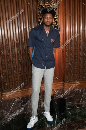 Professional basketball player Rudy Gay, Jr. attends the Pyer Moss runway show during NYFW Spring/Summer 2020, in Brooklyn, New York