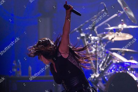 Amy Lee of the rock band Evanescence performs during their concert at Papp Laszlo Sports Arena in Budapest, Hungary, 08 September 2019.