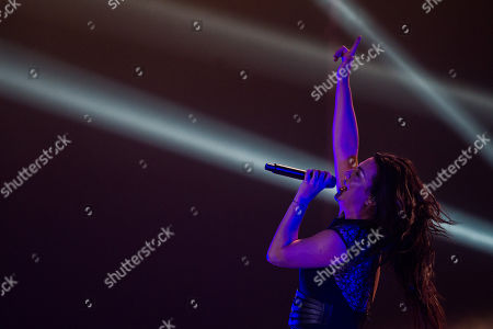 Stock Image of Amy Lee of the rock band Evanescence performs during their concert at Papp Laszlo Sports Arena in Budapest, Hungary, 08 September 2019.