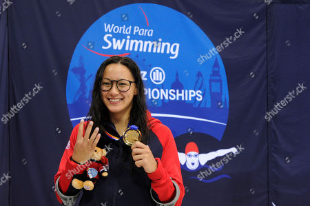 Alice Tai of Great Britain with her gold medal after winning the Women's 400m Freestyle S8 Final at Day four of the London 2019 World Para Allianz Championships at the London Aquatics centre in Stratford, London, UK - 12th September 2019