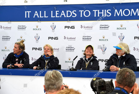 Catriona Matthew (Scotland) Non-playing Captain of Team Europe with her vice captains Laura Davies (England) , Kathryn Imrie (Scotland) and Melissa Reid (England) In press conference