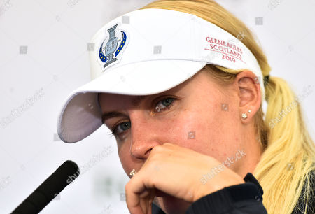 Stock Image of Charley Hull (England) of Team Europe in press conference sporting her engagement ring before her wedding next week too MMA Fighter Ozzie Smith