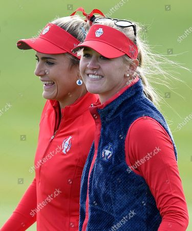 Lexi Thompson of Team USA and Jessica Korda of Team USA celebrate an eagle on the 9th hole for Korda