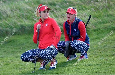 Lexi Thompson of Team USA and Jessica Korda of Team USA on the 7th green