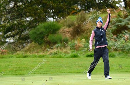 Anne van Dam (Holland) of Team Europe celebrates on the 5th hole but after a fast start her team got pegged back and eventually lost too Morgan Pressel of Team USA and Marina Alex