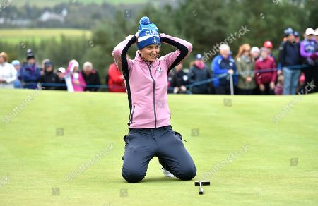 Anne van Dam (Holland) of Team Europe looks dejected after missing a putt on the 13th hole that put her team with Anna Nordqvist (Sweden) 2 down and they eventually lost 2 &1 too Morgan Pressel of Team USA and Marina Alex