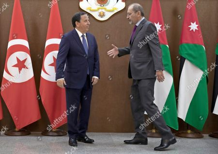 Tunisian Foreign Affairs Minister Khemaies Jhinaoui (L) is welcomed by his Jordanian counterpart Ayman Safadi prior to a meeting at the Foreign Ministry in Amman, Jordan, 09 September 2019.